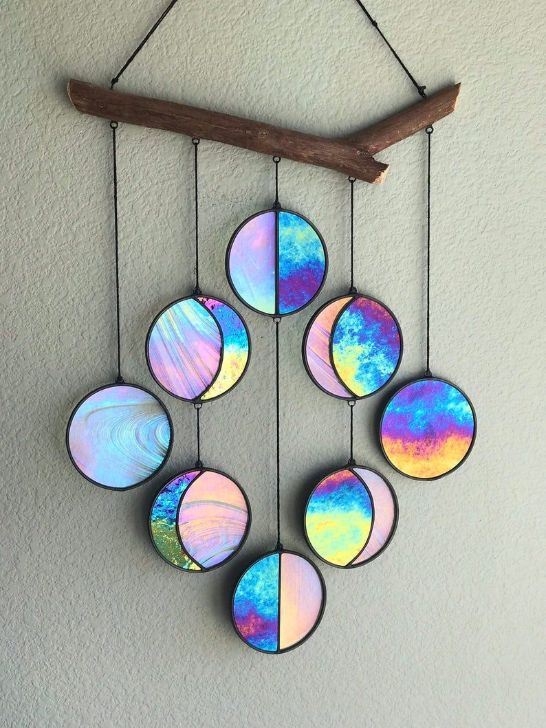 Clear and Rainbow Iridized Moon Phase Hanging // C