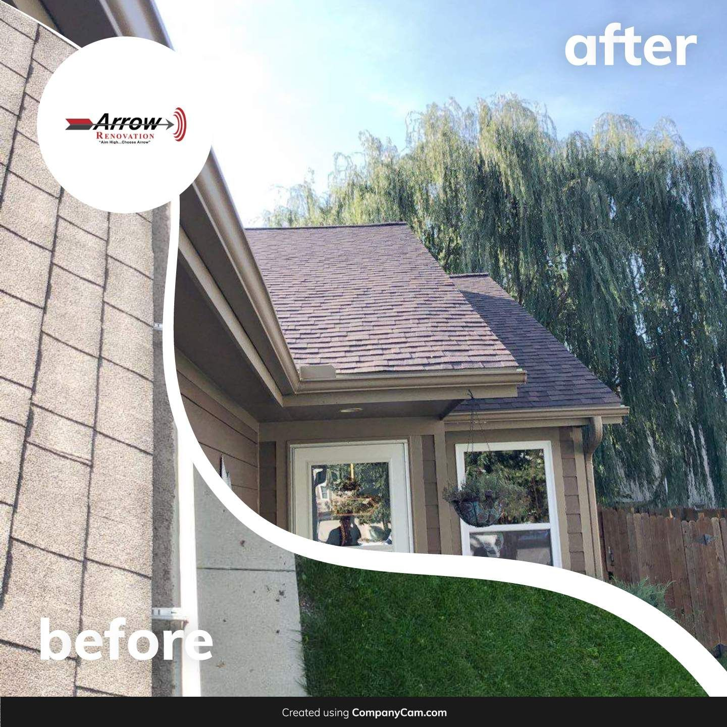Before And After Photo Of A Roof Replacement And Gutter Project In Gardner Ks Please Call Today For A Free Estimate 913 Roofing Renovations Outdoor Decor