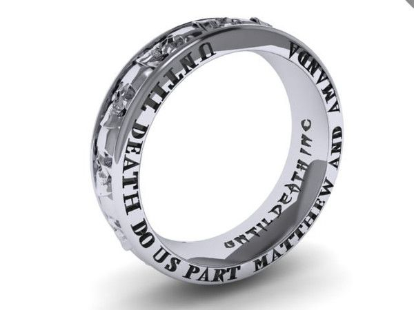Custom Engraving Skull Eternity Band UDINC0358 Custom engraving