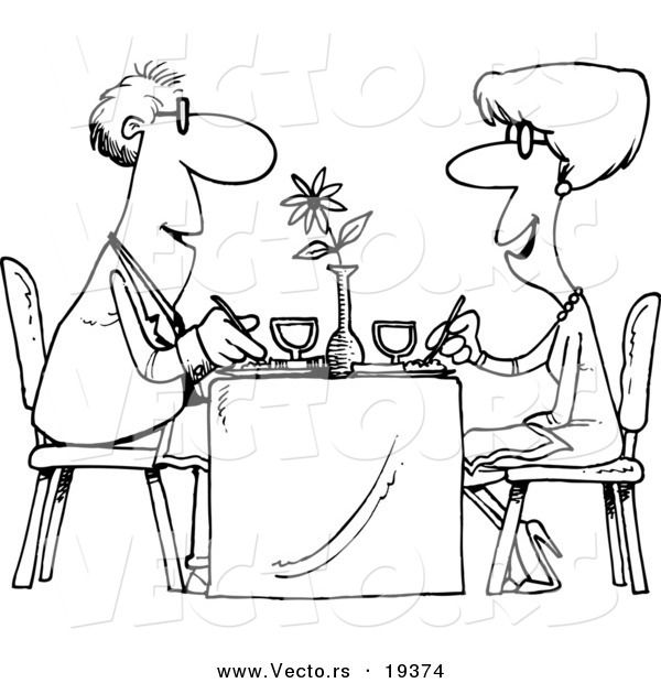 Vector Of A Cartoon Couple Dining At A Restaurant Outlined