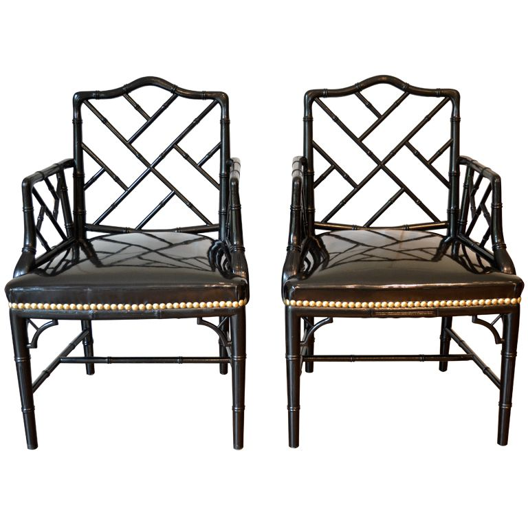 Amazing Pair Of Faux Bamboo Arm Chairs