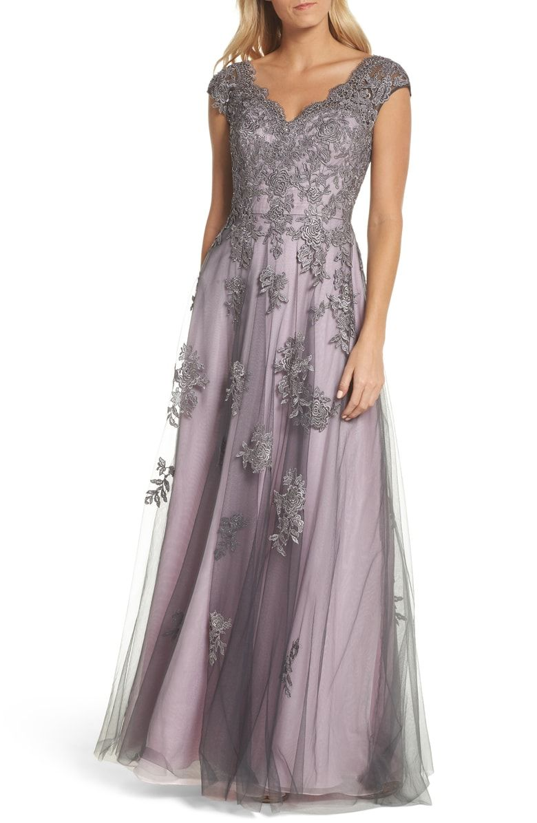 Free shipping and returns on La Femme Embellished Mesh A-Line Gown at  Nordstrom.com.  p Jewel-embellished florals dance atop the ethereal mesh  overlay on ... c125147b495a