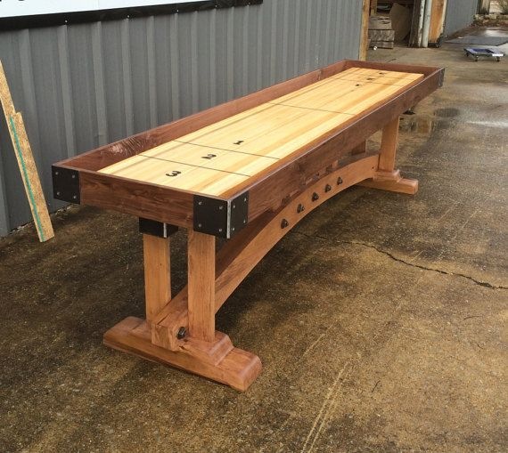 This Craftsman Style Shuffleboard Was Custom Designed For A Customer With A Mid Century Home This Table Would Make A Statement In A Man Mit Bildern Tisch Werkstatt Spiele