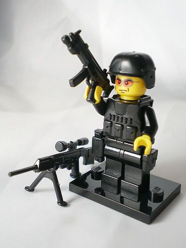 NO.10-4 custom lego swat police helmet military gun army weapon