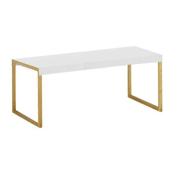 Kilo Table Basse En Acier Laque Blanc Et Pieds En Chene Table De Salle A Manger Blanche Table Basse Mobilier De Salon