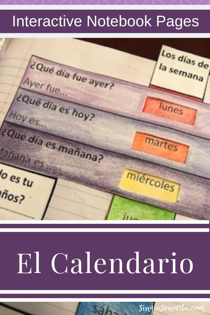El Calendario Interactive Notebooks Interactive Mini Calendars