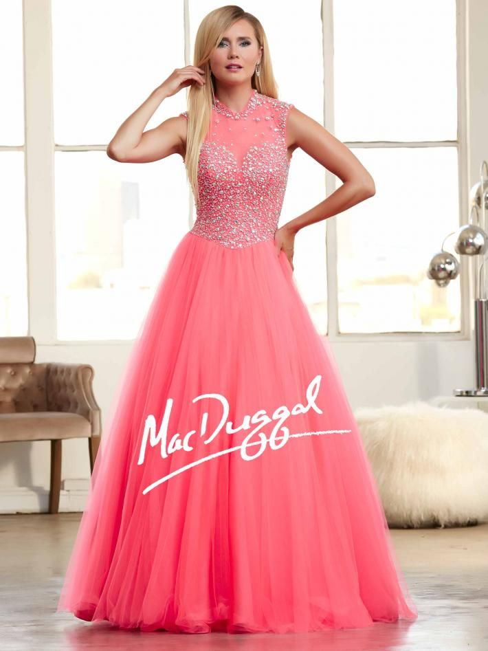 Neon Coral Ball Gown with Collar and Sparkling Bodice | Mac Duggal ...