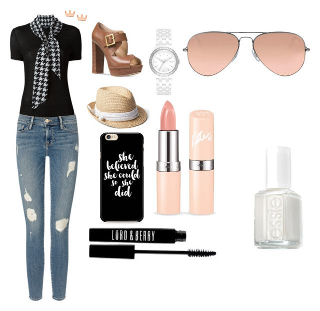 """""""Untitled #2"""" by shzurfluh ❤ liked on Polyvore featuring Salvatore Ferragamo, Frame Denim, Michael Kors, Gap, DKNY, Mminimal, Ray-Ban, Lord & Berry and Essie"""