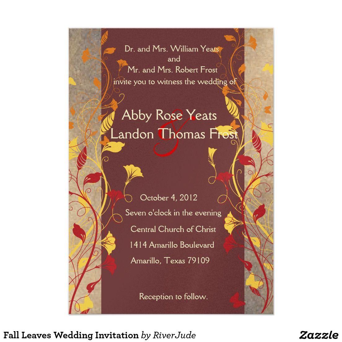Fall Leaves Wedding Invitation 5\