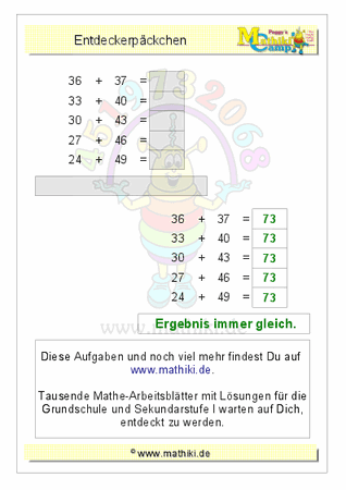Entdeckerpäckchen Addition gemischt bis 100 - ©2016, www.mathiki.de ...