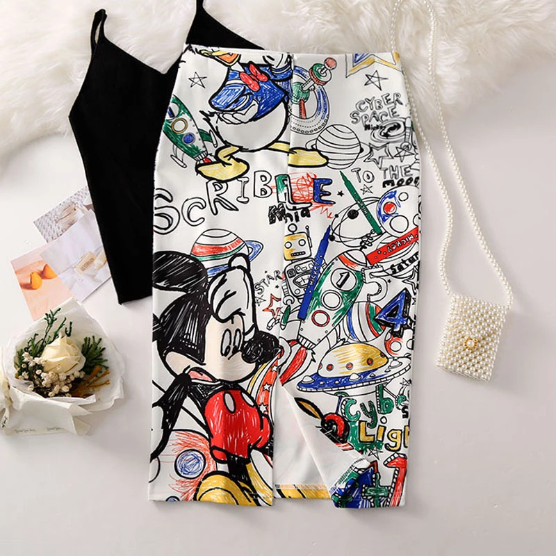 Mamyka Falda De Tubo Con Serigrafia De Dibujos Animados Mouse Verano Faldas Tubo Faldas Ropa De Mujer