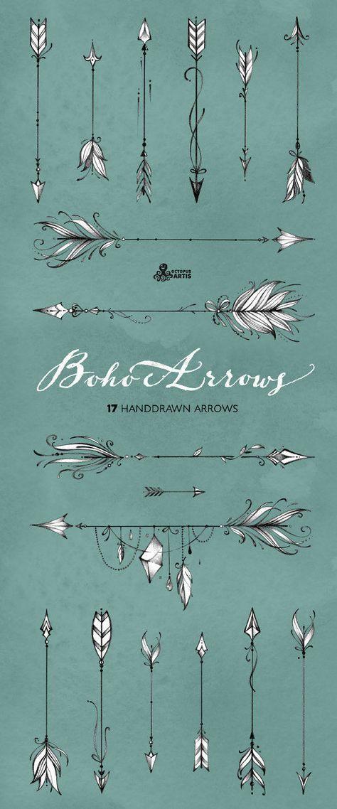 Boho Arrows. 17 hand drawn Clipart. Tribal native diy | Etsy