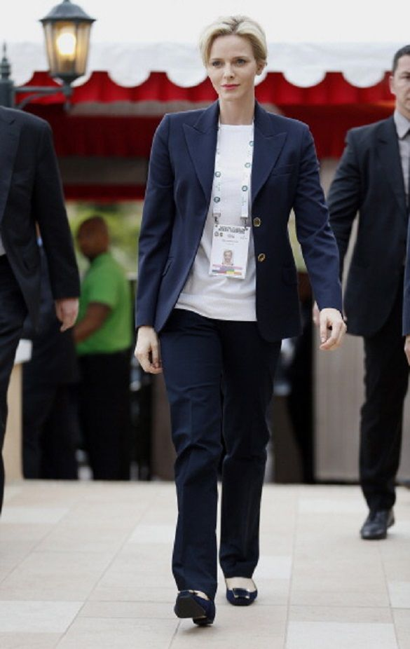 Princess Charlene of Monaco arrives at a Monte-Carlo ATP Masters Series Tournament tennis match, on 18.04.14 in Monaco.
