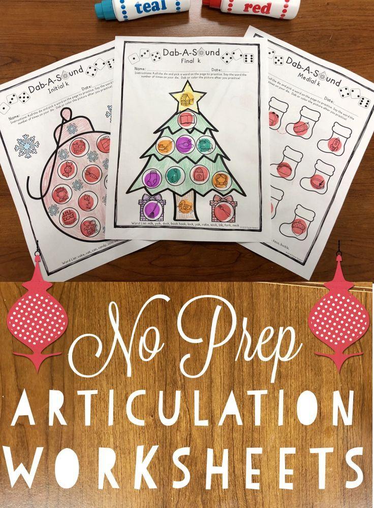 Dab-A-Sound Christmas Edition: No Prep Articulation | Worksheets ...