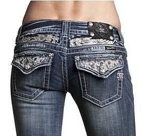 Womens Miss Me Jeans Vintage White Lace Fabric Design Boot Cut Designer Jeans Medium/Dark Wash/Distressed - Crystal Studded Accents Flap Pocket