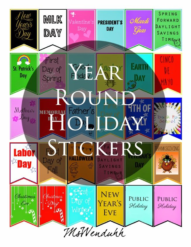 Some year round holiday stickers for your planner or calendarp tried to include as much holidays as i can and even included public holidays as requested