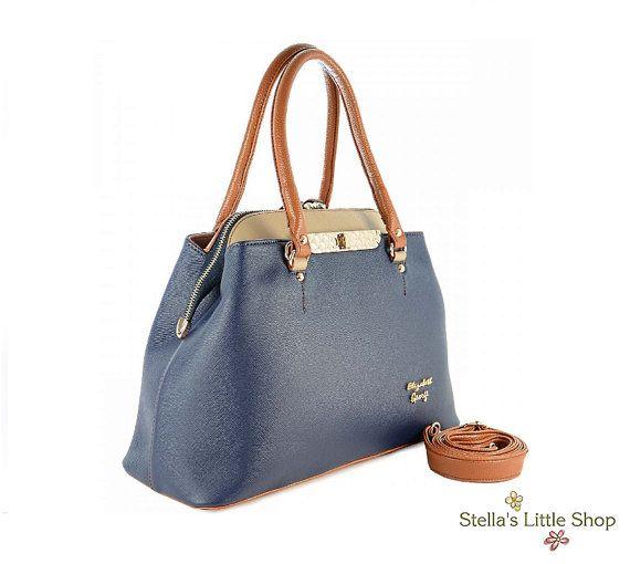 Blue Leather Bag Fashion Bag Blue Leather by StellasLittleShop