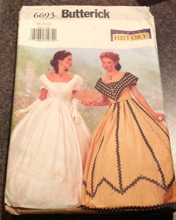 Butterick 6693 Making History Sewing Pattern Southern Belle Civil War Dress Skirt 18 20 22 Historical Costume #dressesfromthesouthernbelleera