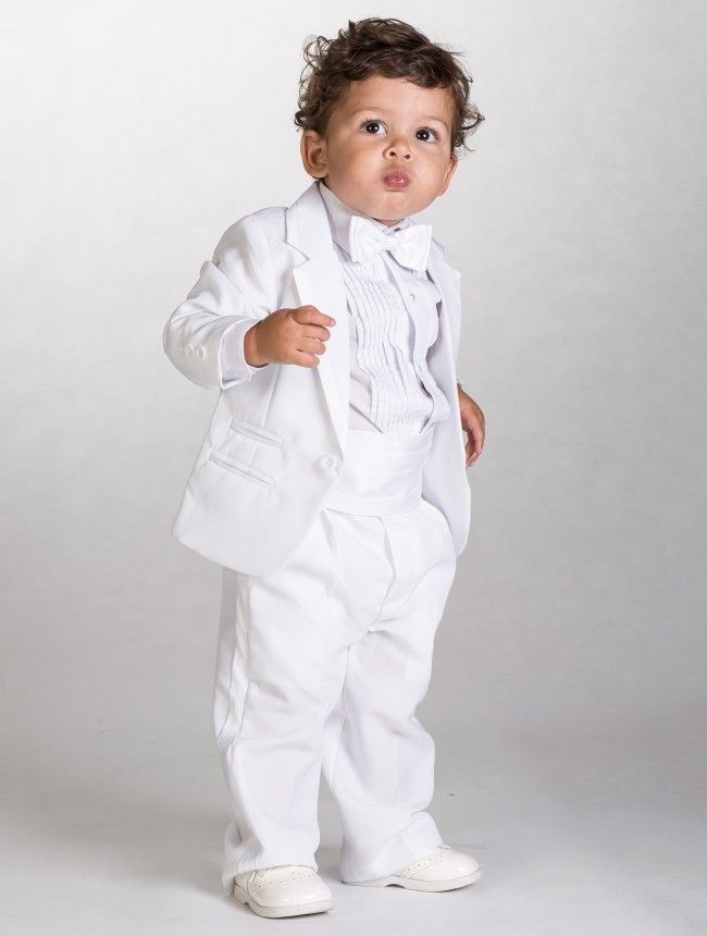 Baby boys white tuxedo - Mikey | Baby boy suit, Boys wedding suits ...