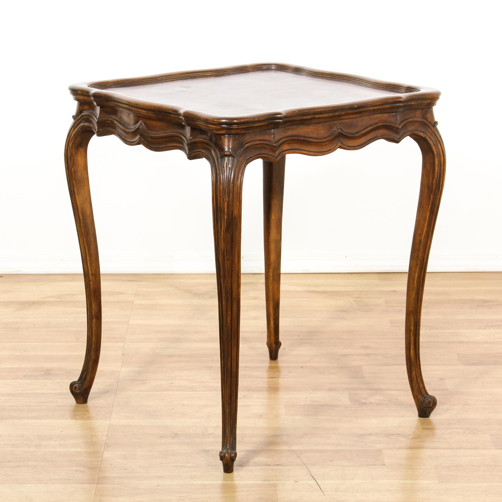 This French Provincial Side Table Is Featured In A Solid Wood With A Glossy Walnut Finish This Tall End Table Has A Durable L Side Table Table Tall End Tables [ 2000 x 2000 Pixel ]
