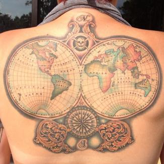 tattoo color vintage world map