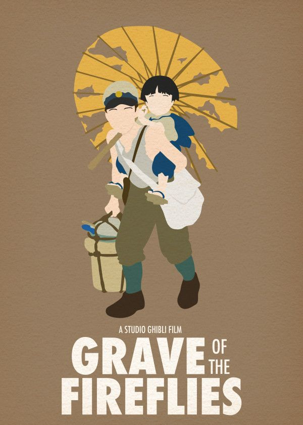 Studio Ghibli Minimalistic Grave Of The Fireflies Displate Artwork By Artist Posteritty Prints P Ghibli Artwork Studio Ghibli Movies Grave Of The Fireflies