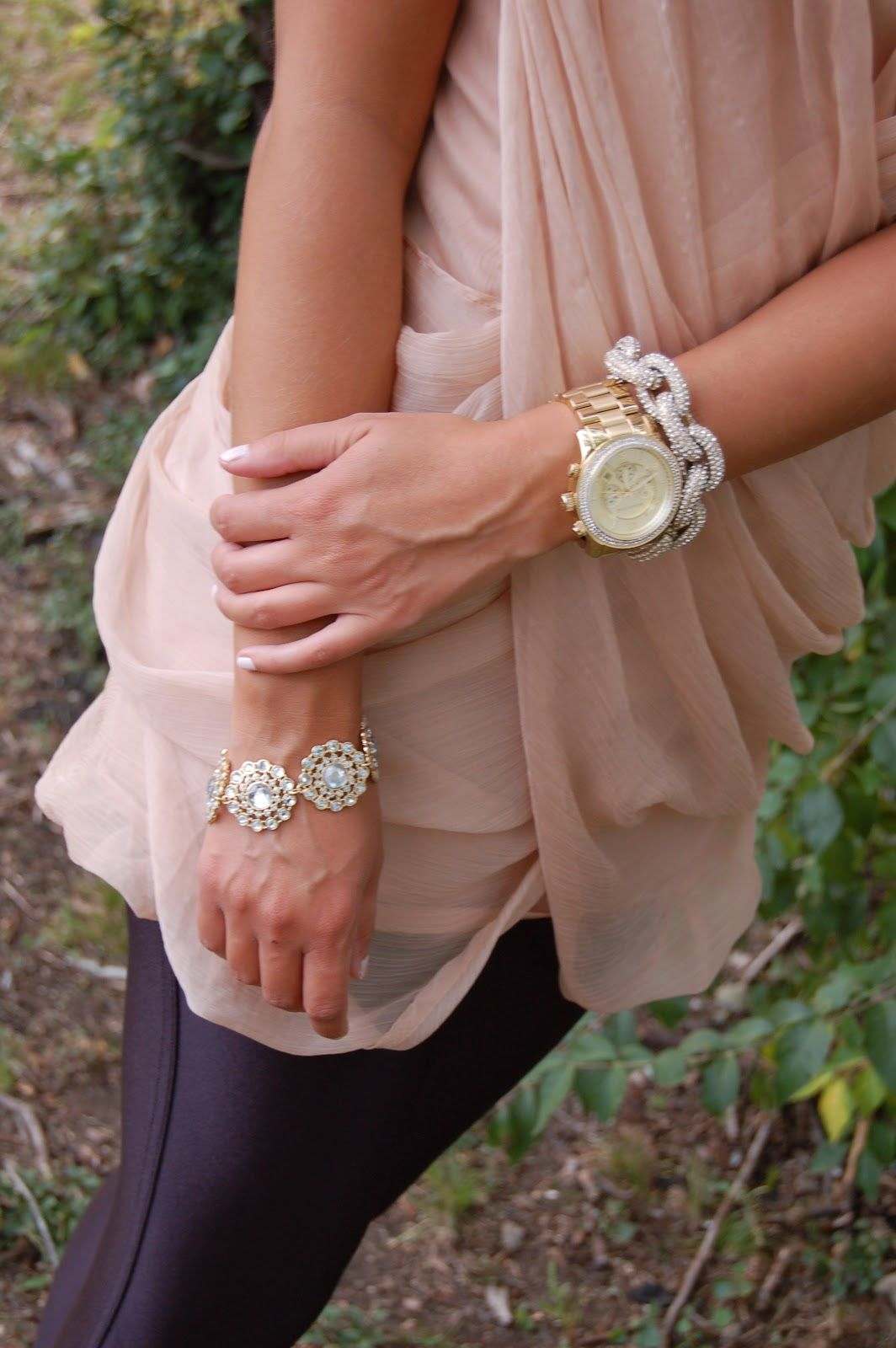 Michael Kors watch with Ily Couture bracelets...so pretty! #jssouthernchic #armcandy #bling