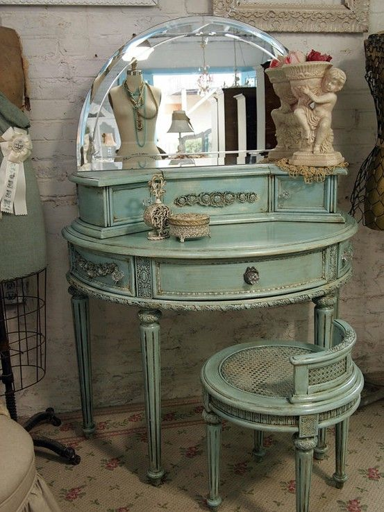 Lovely French Blue And Gold Vanity Table | ... , Blue, Vintage Vanity Table