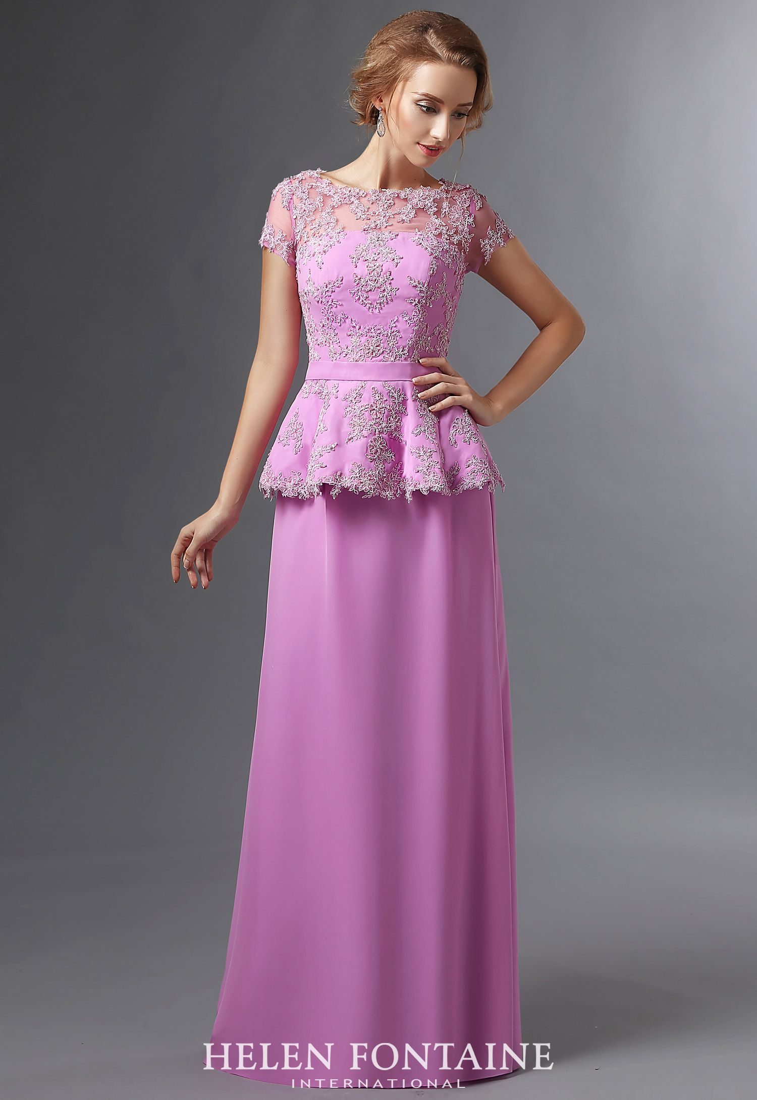Long Sheath Beaded Lace Chiffon Lilac Mother of the Bride Dresses ...