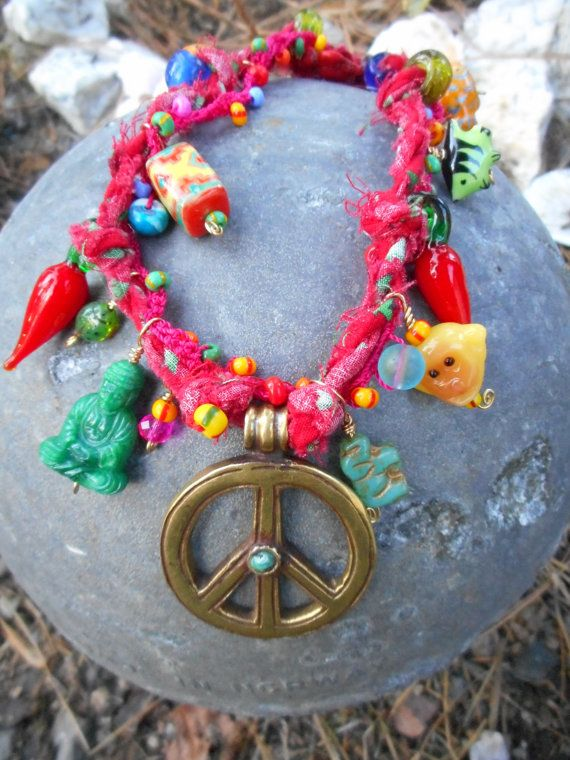 Funky Silly Raggedy Peace Sign Super Colorful Zany by ShastaMaggie on Etsy.com