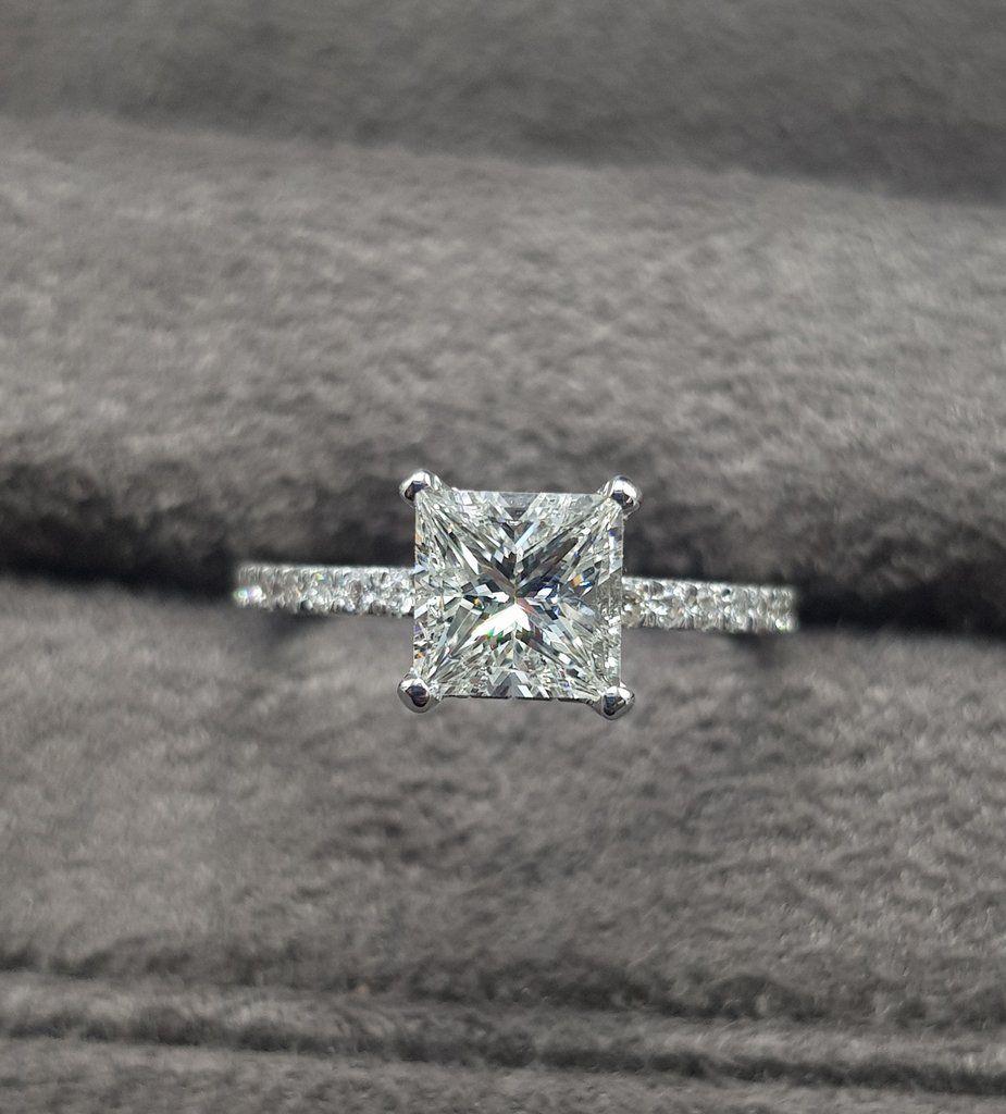 1.70 Carat Princess Cut Side Stones Hidden Halo Diamond Engagement Ring