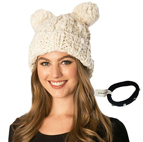 17d323c8d7e Simonetta Women s Handcrafted Soft Chunky Knitted Double Pom Beanie Hat  with  Simonetta