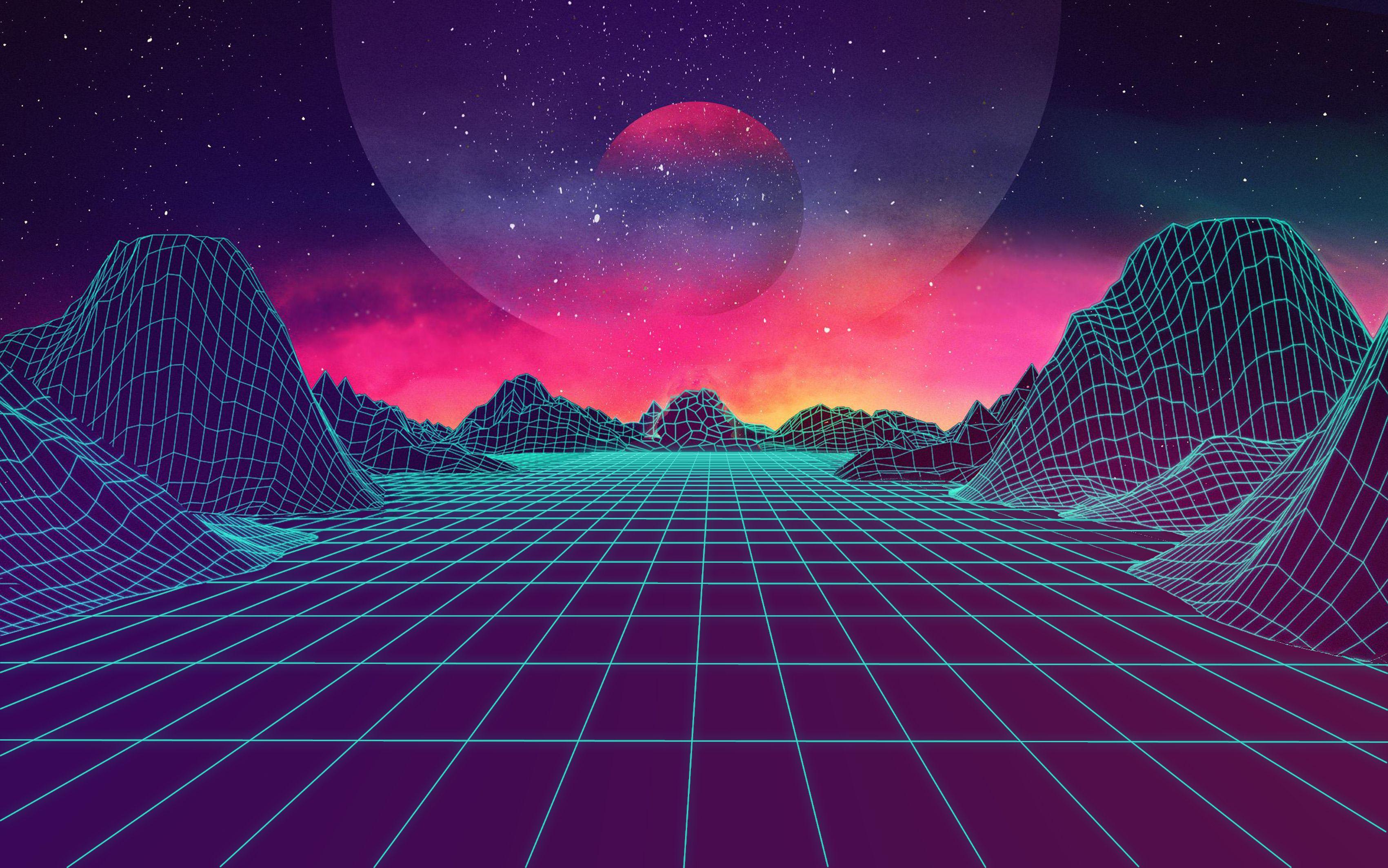 Digital Landscape wallpaper Ретро футуризм, Обои для