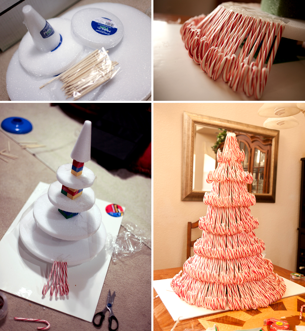 Idée déco : DIY Tuto sapin en candy canes ! Christmas Tree via http://amenphotography.com/blog/2010/12/our-candy-cane-christmas-tree-project/