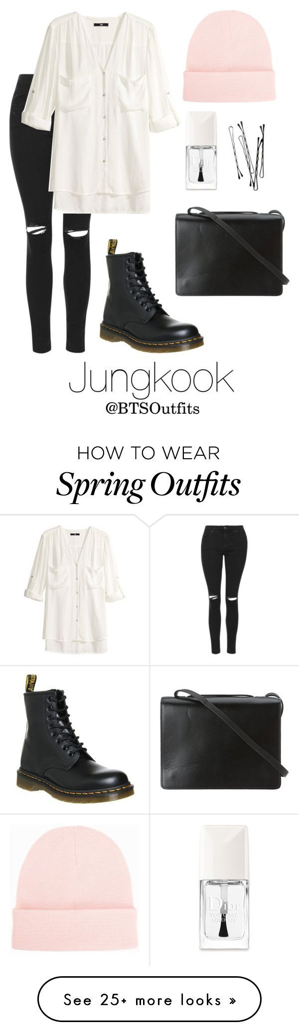 """Spring Outfit Inspired by Jungkook"" by btsoutfits on Polyvore featuring Topshop, H&M, BCBGMAXAZRIA, Dr. Martens, Christian Dior, NLY Accessories, women's clothing, women, female and woman"