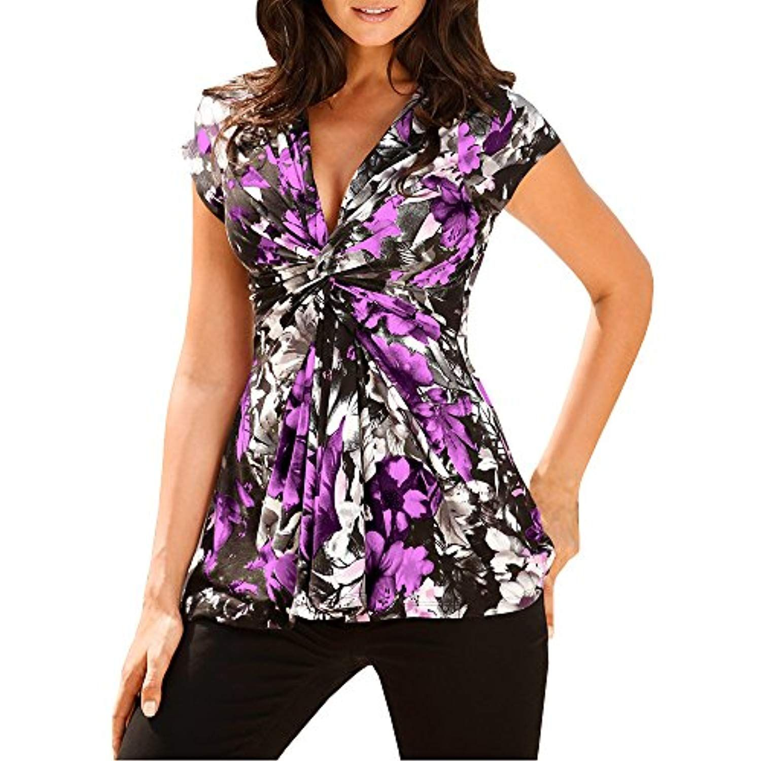 0f4cf9bcb29 Womens V Neck Retro Twist Kont Front Top Floral Print Short Sleeve Blouse T  Shirt   Check out the image by visiting the link. (This is an affiliate  link)