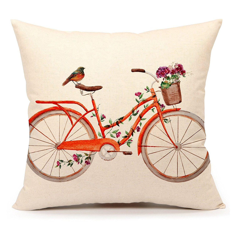 pretty design bird home decor. AmazonSmile  Watercolor Bird with Bicycle Vintage Home Decor Design Throw Pillow Cover Case 18