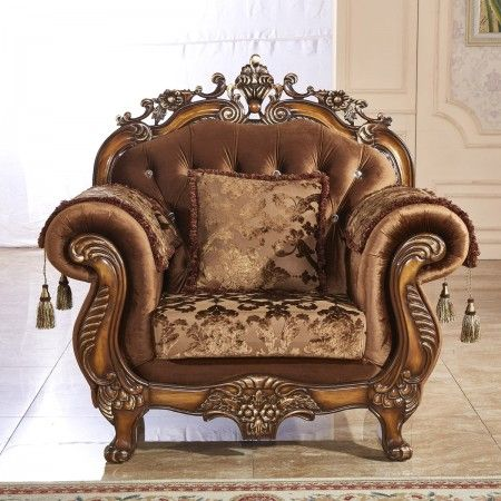 Acme versailles living room chair in golden brown velvet - Discount living room furniture near me ...