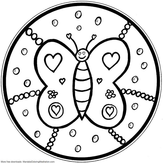 Printable Children Coloring Page Butterfly Mandala Mandalas For