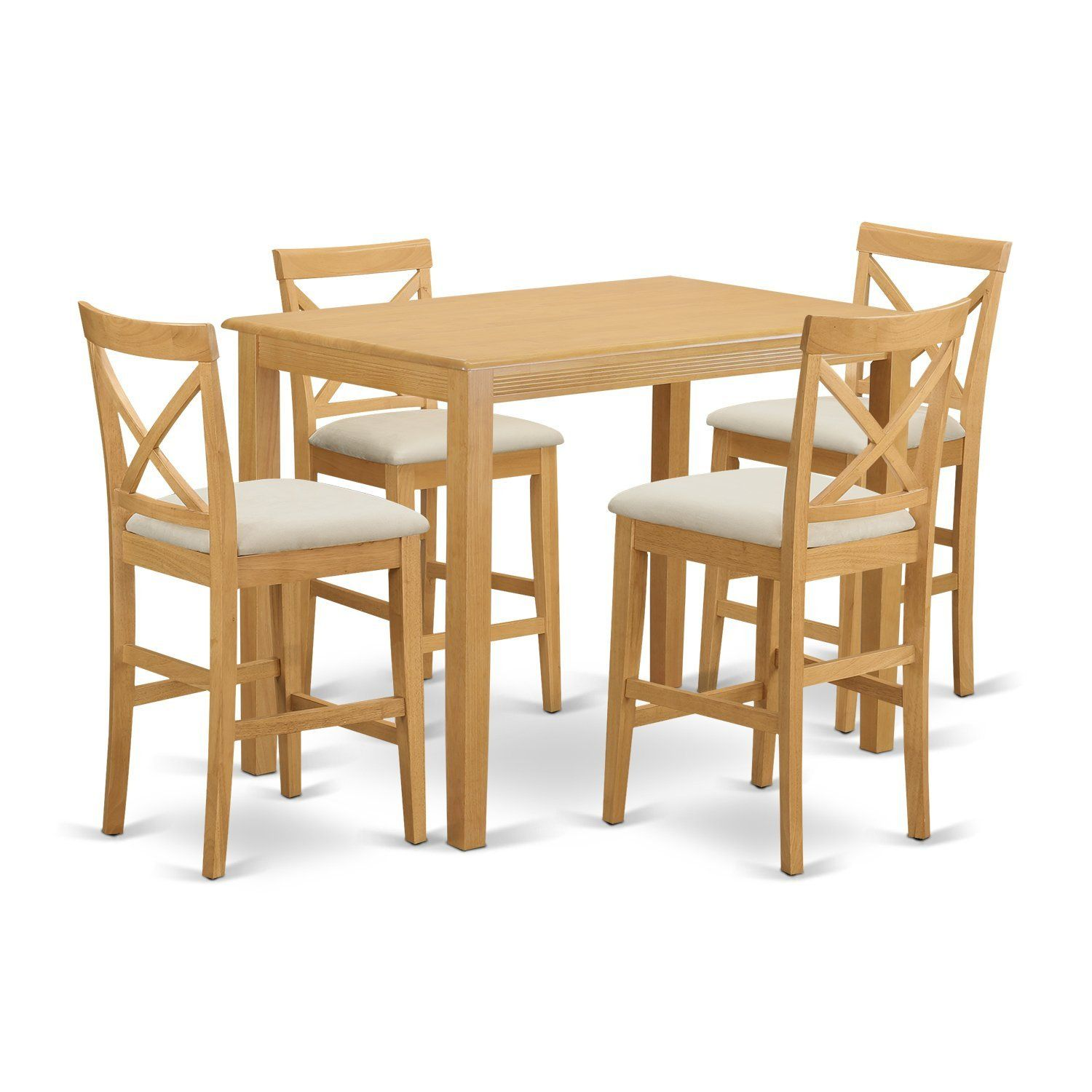 East West Furniture YAPB5-OAK-C 5 Piece High Top Table and 4 Chairs ...
