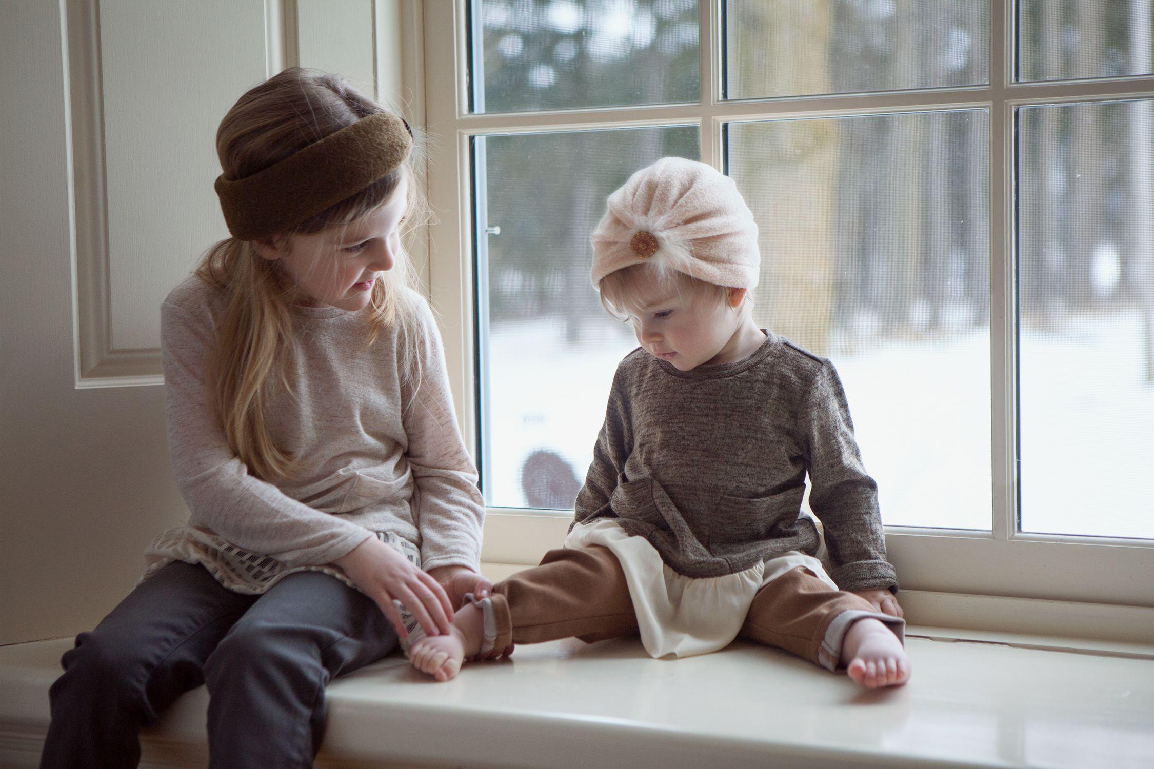 Peyton - Olive Fabric Headband Hazel - Blush Fleece Turban