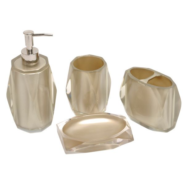 Fiore Taupe Bath Accessory 4 Piece Set Ping