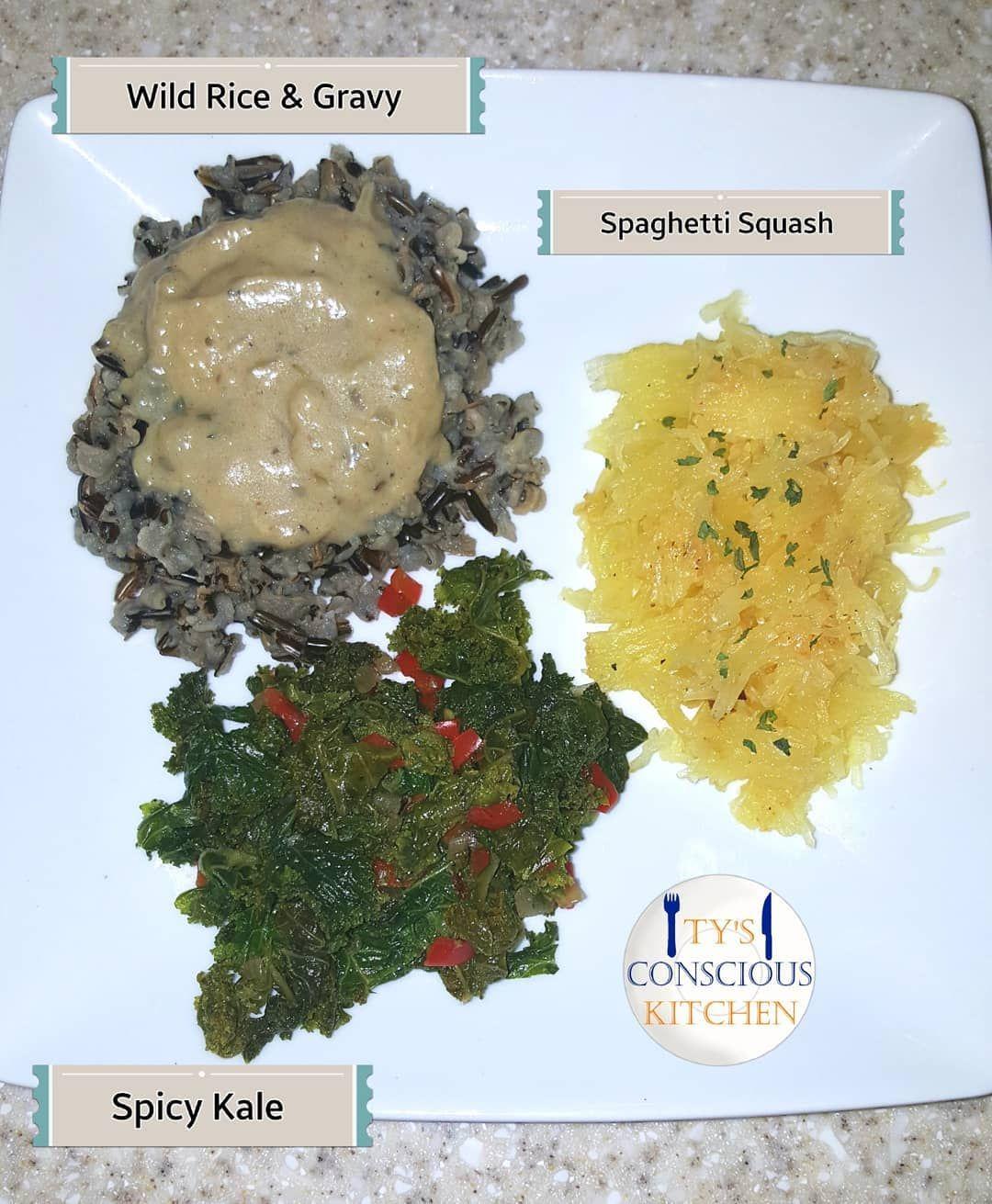 Alkaline Electric Dinner Wild Rice with Gravy, Spicy Kale