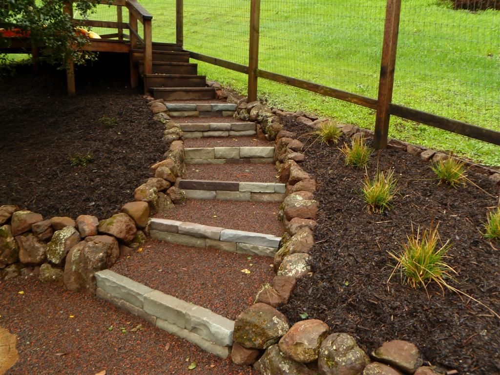 Steps In A Hillside Stone Steps Concrete Steps Seating Area Spa Area Path Natural Landscaping On A Hill Landscape Steps Landscaping With Rocks