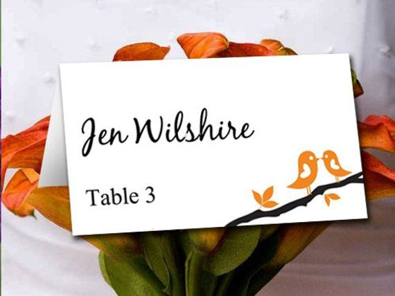 Love Bird Wedding Place Card Template Branch Orange Table