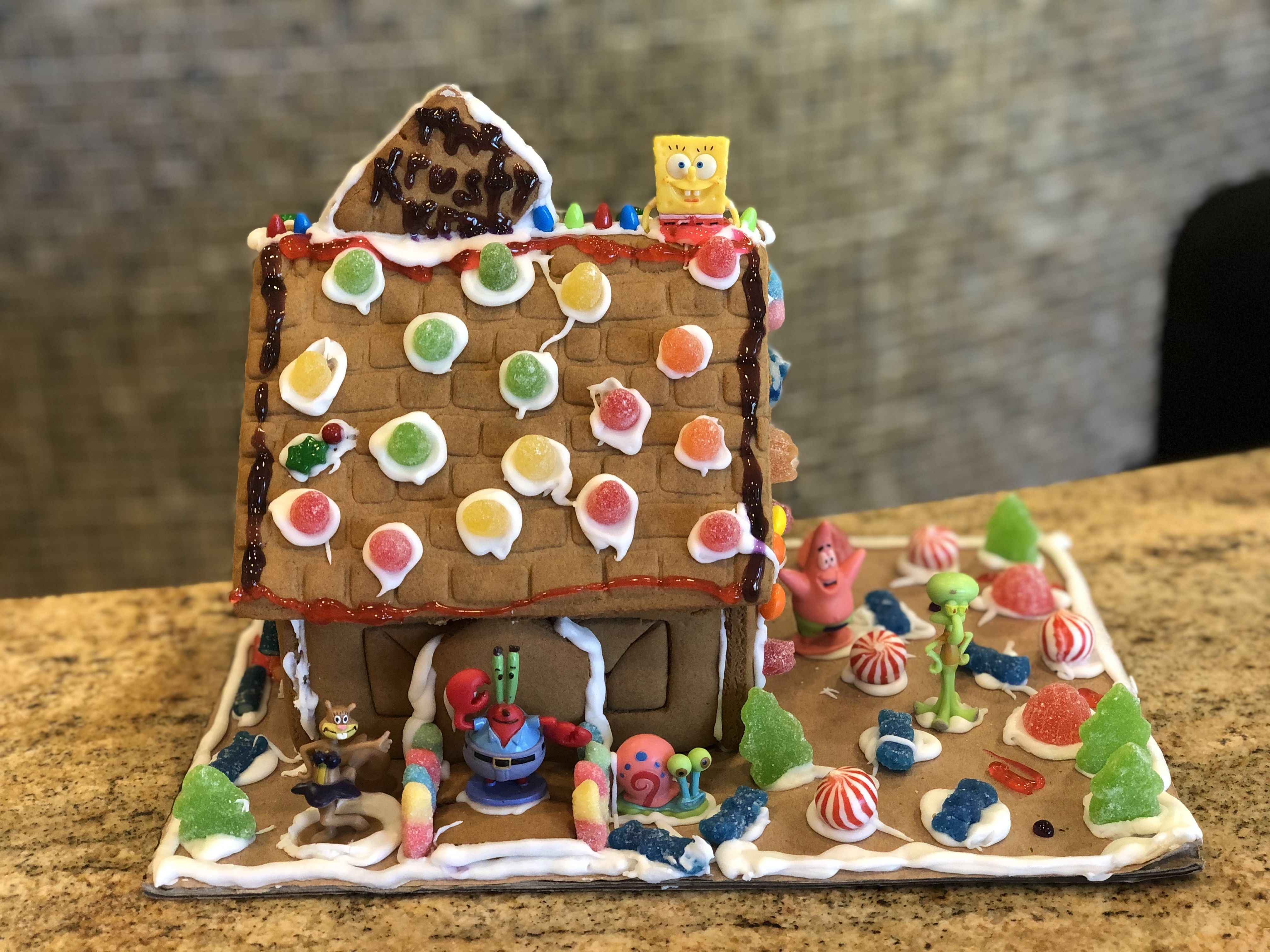 """""""The Krusty Krab"""" themed gingerbread house. Decorating"""