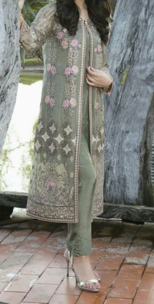 Dress Designs Pakistani 2018 Front Open Double Shirt ...