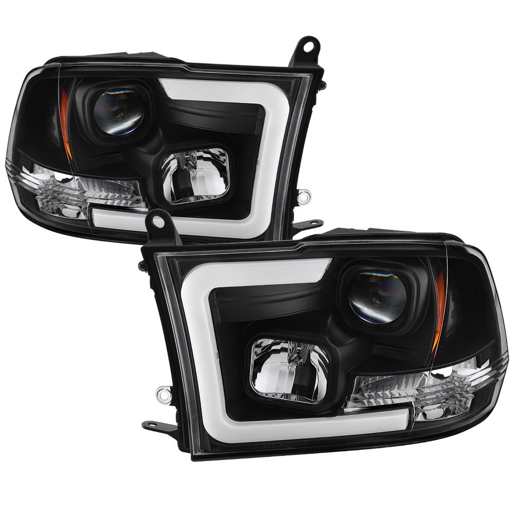 Spyder Auto Dodge Ram 1500 09 16 Ram 2500 3500 10 16 Version 2 Projector Headlights Halogen Model Only Light Bar Drl Black 5084811 The Home Depot Dodge Ram 1500 Dodge Ram Projector Headlights