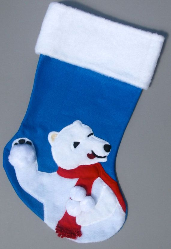 polar bear christmas stocking by heartfeltstockings on etsy 8000