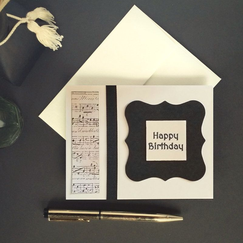 Music Birthday Card Simple Musical Lover Black And Ivory Gift